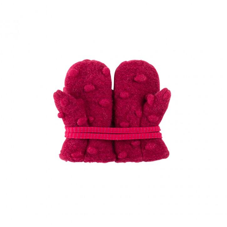 Baby Fäustel Wollfleece mit Band Tupfen burgundy
