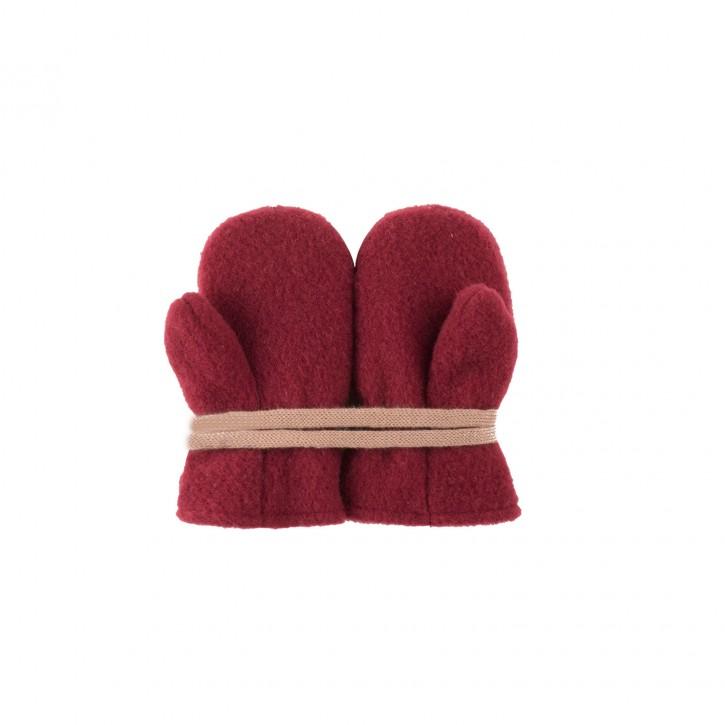 Baby Fäustel Wollfleece mit Band burgundy