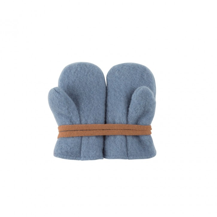 Baby Fäustel Wollfleece mit Band dusty blue
