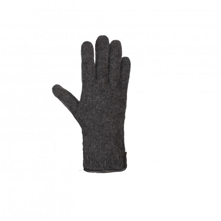 Erwachsenen Finger Handschuhe mit Lederbesatz anthrazit