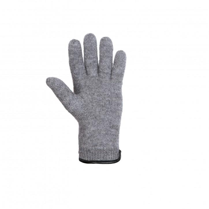 Erwachsenen Finger Handschuhe mit Lederbesatz grau melange