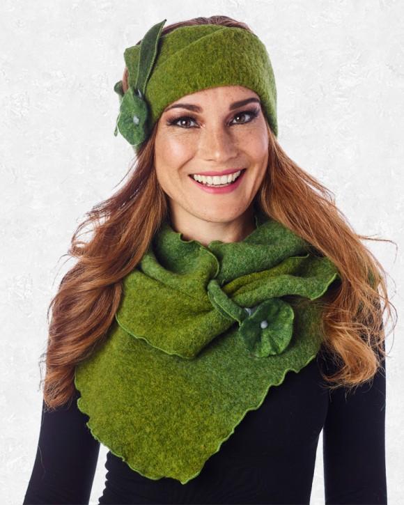 Stirnband mit Filzblume grün
