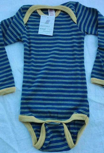 Langarm Body Wolle blau/gelb