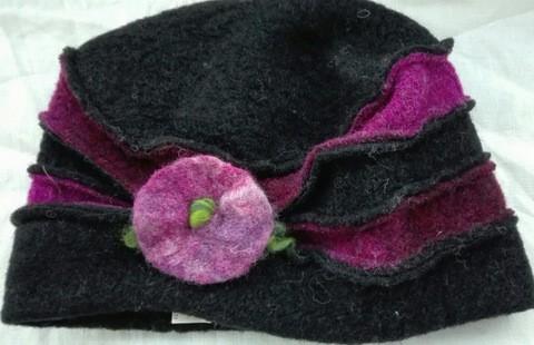 Duo Mütze pink/schwarz mit Filzblume