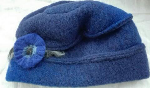 Duo Mütze blau mit Filzblume