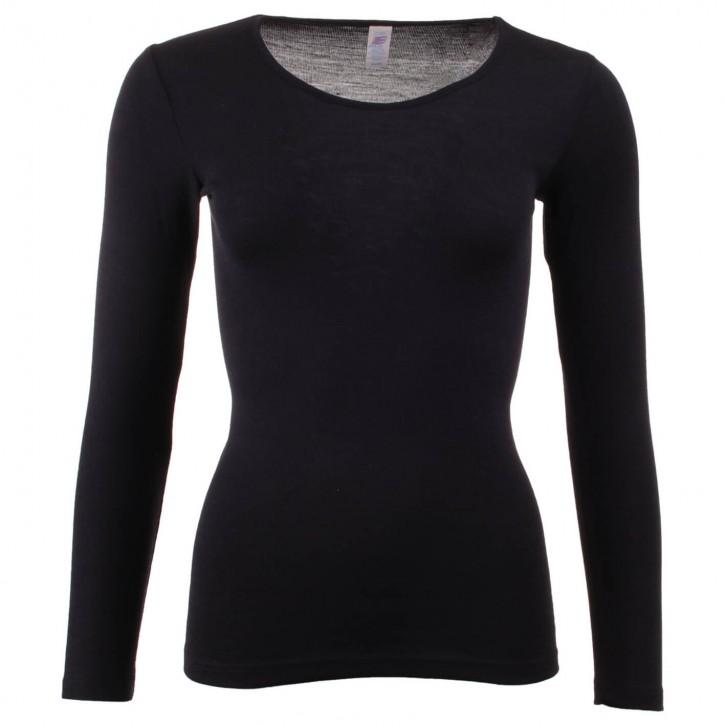 Langarm Unterhemd schwarz    Wolle/ Seide