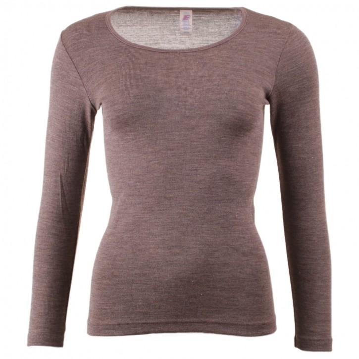 Langarm Unterhemd  walnuss   Wolle/ Seide