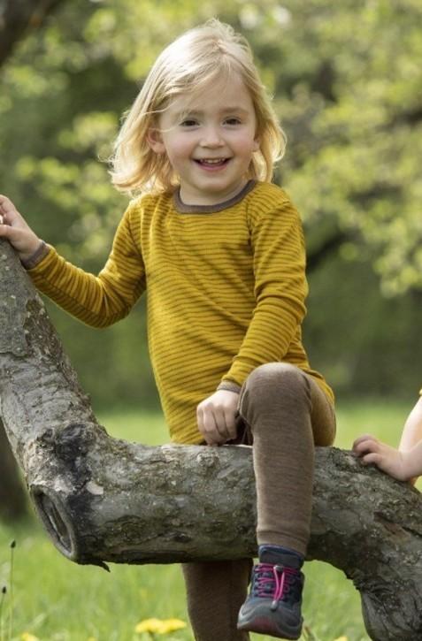 Kinder Unterhemd langarm Wolle Seide safran walnuss