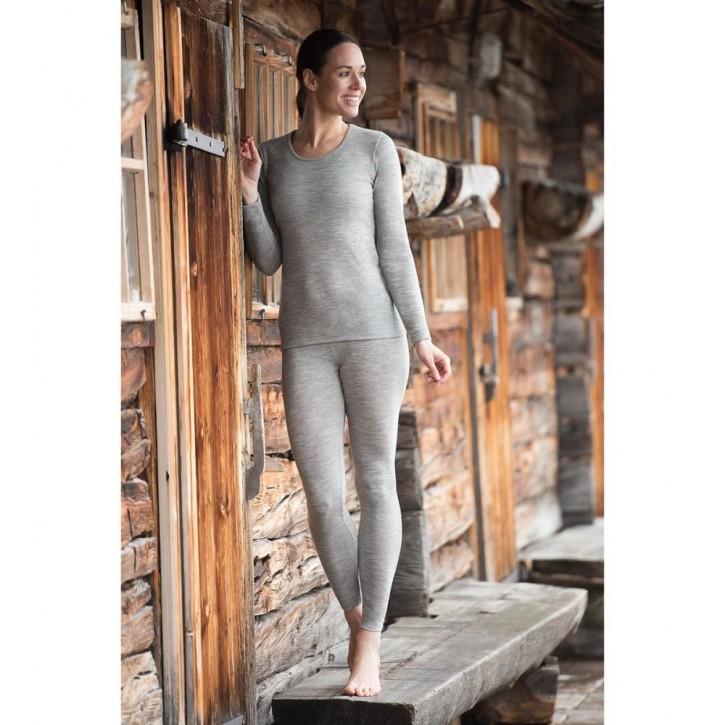 Langarm Unterhemd  naturgrau   Wolle/ Seide