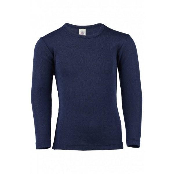 Langarm Unterhemd     Wolle/ Seide marine
