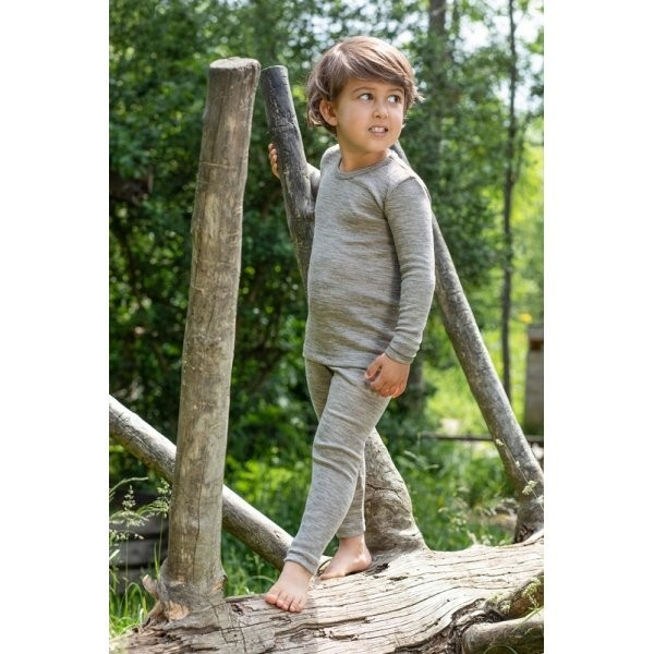 Kinder Leggings lange Unterhose Wolle/ Seide grau