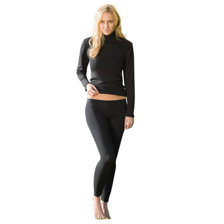 Damen Leggings  schwarz  Wolle/Seide