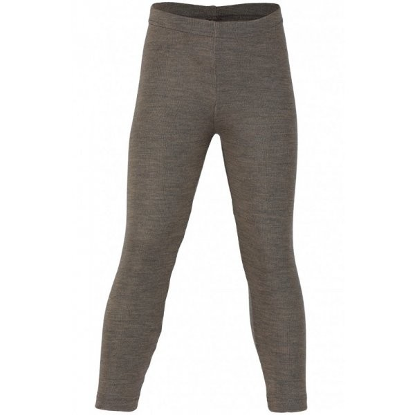 Kinder Leggings lange Unterhose Wolle/ Seide walnuss