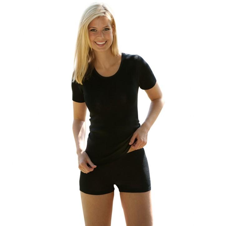 Damen Shirt schwarz kurzarm Wolle Seide