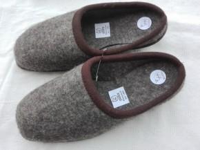 Wollfilz Pantoffeln aus dem Erzgebirge braunmeliert / 38