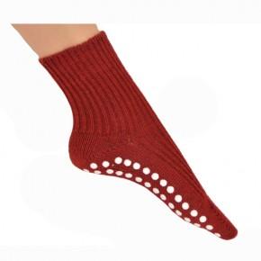 extradicke flauschige Socke mit Stopper rot 44-46